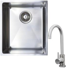 1.0 Bowl Undermount / Inset Stainless Steel Kitchen Sink W370 x D430 & KT6BN Tap