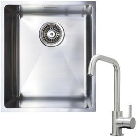 1 Bowl Undermount / Inset Stainless Steel Kitchen Sink W370 x D430 & KT6BND Tap