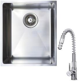 1.0 Bowl Undermount / Inset Stainless Steel Kitchen Sink W370 x D430 & KT7 Tap
