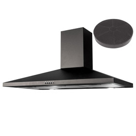 SIA CHL90BL 90cm Black Chimney Cooker Hood Kitchen Extractor And Carbon Filter