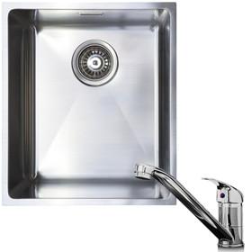 1.0 Bowl Undermount / Inset Stainless Steel Kitchen Sink W370 x D430 & KT1 Tap