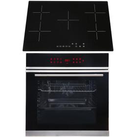 SIA BISO11SS 60cm Black Single Electric True Fan Oven & 75cm 5 Zone Ceramic Hob