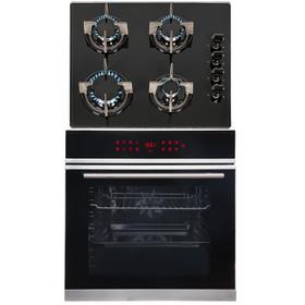 SIA BISO11SS 60cm Black Single Electric True Fan Oven & 4 Burner Gas Glass Hob