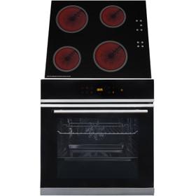 SIA BISO6SS 60cm Black Single Electric True Fan Oven & 4 Zone Ceramic Hob