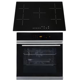 SIA BISO6SS 60cm Black Single Electric True Fan Oven & 75cm 5 Zone Ceramic Hob