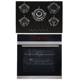 SIA BISO11SS 60cm Black Single Electric Fan Oven & 70cm 5 Burner Gas Glass Hob