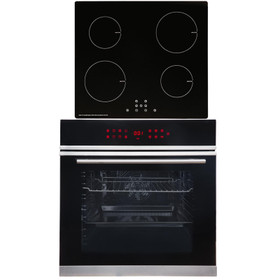 SIA BISO11SS 60cm Black Single Electric True Fan Oven & 4 Zone 13A Induction Hob
