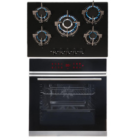 SIA BISO12PSS 60cm Single Electric Pyrolytic Oven & 70cm 5 Burner Gas Glass Hob