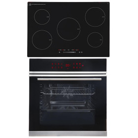 SIA BISO12PSS 60cm Black Pyrolytic Single Electric Oven & 5 Zone Induction Hob