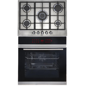 SIA BISO12PSS 60cm Pyrolytic Single Electric Oven & R6 5 Burner Steel Gas Hob