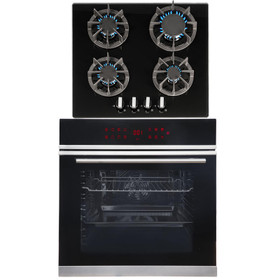 SIA BISO12PSS 60cm Single Electric Pyrolytic Oven & R7 4 Burner Gas Glass Hob