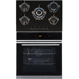 SIA BISO6SS 60cm Black Single Electric True Fan Oven & 70cm Gas On Glass Hob