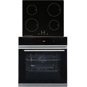 SIA BISO6SS 60cm Black Single Electric True Fan Oven & 4 Zone 13A Induction Hob