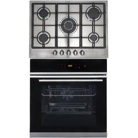 SIA BISO6SS 60cm Black Single Electric True Fan Oven & R6 5 Burner Steel Gas Hob