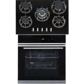 SIA BISO6SS 60cm Black Single Electric True Fan Oven & R8 70cm Gas On Glass Hob