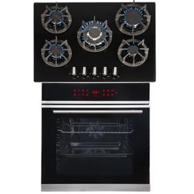SIA BISO11SS 60cm Black Single Electric True Fan Oven & R8 70cm Gas On Glass Hob
