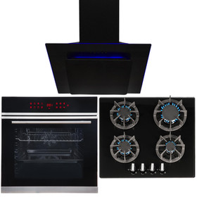 Black Touch Control 13 Function Single Oven, 4 Burner Gas Hob & LED Angled Hood