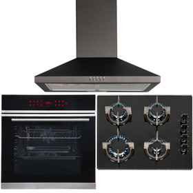 Black Touch Control 13 Function Single Fan Oven, 4 Burner Gas Hob & Chimney Hood