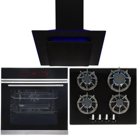 Black Touch Control Pyrolytic Single Oven, 4 Burner Gas Hob & LED Angled Hood