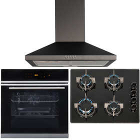 Black Touch Control 10 Function Single Fan Oven, 4 Burner Gas Hob & Chimney Hood