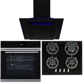 Black Touch Control 10 Function Single Oven, 4 Burner Gas Hob & LED Angled Hood