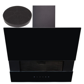 SIA AGTC60BL 60cm Black Angled Touch Control Cooker Hood Extractor &  Filter