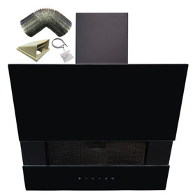 SIA AGTC60BL 60cm Black Angled Touch Control Cooker Hood Extractor & 3m Ducting