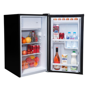 SIA LFIBL 48cm Black Free Standing Under Counter Fridge With 3* Ice Box A+ Rated