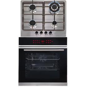 SIA BISO11SS 60cm Black Single Electric True Fan Oven & 4 Burner Steel Gas Hob