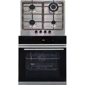 SIA BISO6SS 60cm Black Single Electric True Fan Oven & 4 Burner Steel Gas Hob