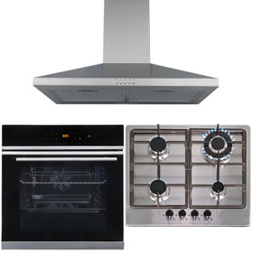 Touch Control 10 Function Single Fan Oven, 4 Burner Steel Gas Hob & Chimney Hood