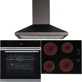Black Touch Control 10 Function Single Fan Oven, 60cm Ceramic Hob & Cooker Hood