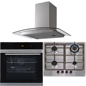 Touch Control 10 Function Single Fan Oven, 4 Burner Steel Gas Hob & Curved Hood