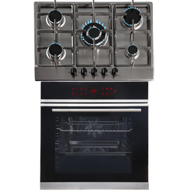 SIA BISO12PSS 60cm Black Pyrolytic Single Electric Oven & 5 Burner Steel Gas Hob