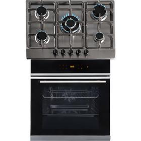 SIA BISO6SS 60cm Black Single Electric True Fan Oven & 5 Burner Steel Gas Hob