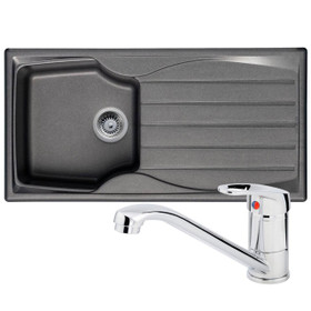 Astracast Sierra 1 Bowl Graphite Grey Composite Kitchen Sink And Zeno Mixer Tap