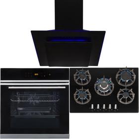Black 10 Function Single Fan Oven, 5 Burner 70cm Gas Hob & Angled Cooker Hood