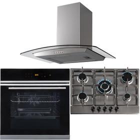 10 Function Single Fan Oven, 70cm 5 Burner Steel Gas Hob & Curved Cooker Hood