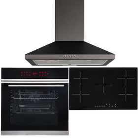 Black 13 Function Touch Control Single Oven, 5 Zone Ceramic Hob & Chimney Hood