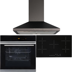 Black 10 Function Touch Control Single Oven, 5 Zone Ceramic Hob & Chimney Hood