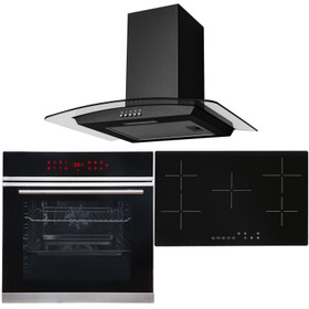 Black 13 Function Touch Control Single Oven, 5 Zone Ceramic Hob & Curved Hood