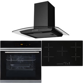 Black 10 Function Touch Control Single Oven, 5 Zone Ceramic Hob & Curved Hood