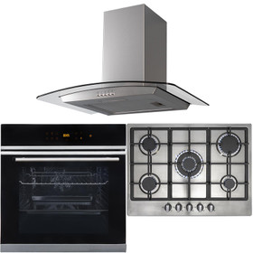 10 Function Single Oven, 70cm 5 Burner Stainless Gas Hob & Curved Cooker Hood