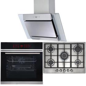 13 Function Single Oven, 70cm 5 Burner Stainless Gas Hob & Angled Cooker Hood