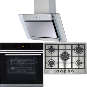 10 Function Single Oven, 70cm 5 Burner Stainless Gas Hob & Angled Cooker Hood