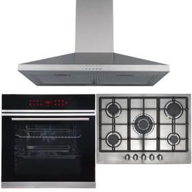 13 Function Single Oven, 70cm 5 Burner Stainless Gas Hob & Chimney Cooker Hood