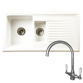 Reginox RL301CW 1.5 Bowl White Ceramic Reversible Kitchen Sink & Elbe Tap Pack