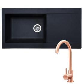 SIA 1.0 Bowl Black Composite Reversible Inset Kitchen Sink & KT6CU Copper Tap