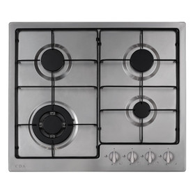 CDA HG6251SS 60cm Stainless Steel 4 Burner Gas Hob with Enamel Pan Stands & FFD