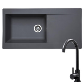 SIA 1.0 Bowl Grey Composite Reversible Inset Kitchen Sink & KT6BL Black Tap